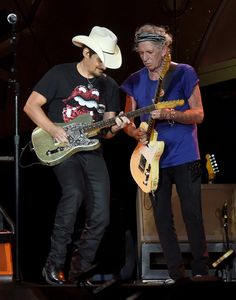 Brad Paisley joins Keith Richards of The Rolling Stones during The Rolling Stones North American 'ZIP CODE' Tour – Nashville at LP Field on June 17, 2015 in Nashville, Tennessee. (Photo by Rick Diamond/Getty Images,)