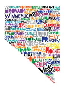 NEVADA State Digital illustration Print with Reno by mollymattin, $15.00