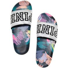 Victoria Secret VS Pink Slides floral tropical M/L Pink Sandals, Cute Sandals, Pink Shoes, Slide Sandals, Vs Pink Slides, Pink Wardrobe, Cute Slides, Nike Slippers, Victoria Secret Outfits