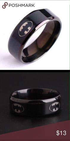 3 SIZES 8MM Mens Black Titanium Batman Symbol Ring 8MM Men's Black Titanium Batman Symbol Ring Batman Accessories