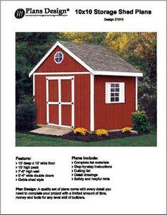 10' x 10'Gable Storage Shed Project Plans -Design #21010 Plans Design