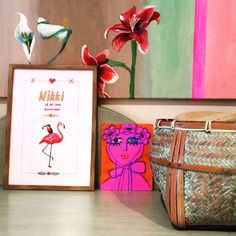 personal illustration for children with name from catchii.com flamingo and toucan pink with frame