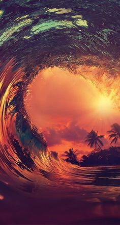 iPhone and Android Wallpapers: Sunset Wave Wallpaper for iPhone and Android