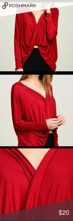 Red Bellino Crossover Top This top is sold in red, black, & white. **See each color listing for the sizes available. The top in this listing is RED. This cool, comfortable, crossover top is very versatile. It can be worn with a skirt, maxi dress, jeans, or shorts. The combinations are only limited by your imagination. The fit is just right for wearing with your favorite tank tops or bralettes. There tops are loose fitting so they are not tight or extra loose but the perfect mix of style and…