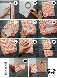 Make your own gift bags! Gift Wrapping Tutorial, Diy Wrapping Paper, Diy Paper Bag, Paper Bag Crafts, Creative Gift Wrapping, Diy Wrapping Presents, Wrapping Papers, Paper Gifts, Diy Crafts Hacks