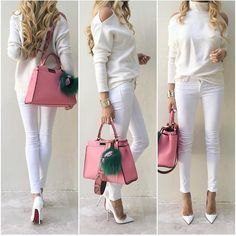 All ivory and white with a punch of pink