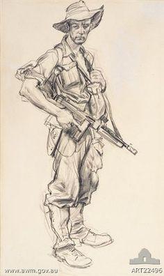 "Ivor Hele (Australian artist) ""In From Patrol"". Gesture Drawing, Guy Drawing, Life Drawing, Drawing Sketches, Cool Drawings, Painting & Drawing, Figure Sketching, Figure Drawing, Pinstriping"
