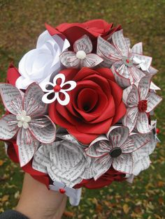 Custom Paper Flower Wedding Bouquets. You Pick by TreeTownPaper, $95.00