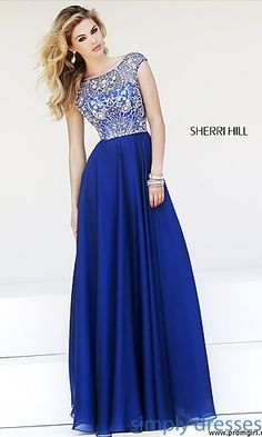 Cap Sleeve Beaded Gown by Sherri Hill 32017 at SimplyDresses.com