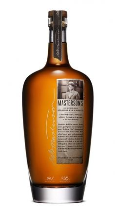 Mastersons Whisky bottle: A vintage/antique spin with type helps give this bottle character and interest. The contrast of script text with the antique serif creates an interesting combination.