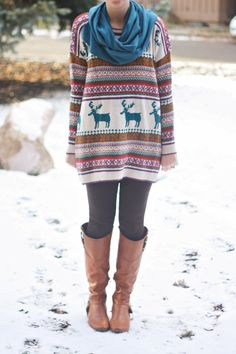 Everything about this- sweater, leggings, boots scarf (Nordic Print Oversized Knitted Jumper)