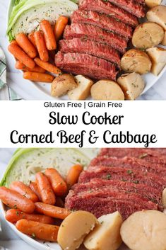 An easy slow cooker & Instant Pot recipe for the traditional Irish dinner or corned beef, cabbage, potatoes, and carrots. Gluten free and grain free. Perfect for St. patricks day dinner main dishes Slow Cooker Corned Beef and Cabbage Corned Beef Brisket, Slow Cooker Corned Beef, Corned Beef Recipes, Corn Beef And Cabbage, Cabbage Recipes, Slow Cooking, Healthy Crockpot Recipes, Slow Cooker Recipes, Whole30 Recipes