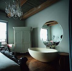 tub in the bedroom. so me.