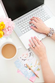 Floral & feminine office layflat. Photo from Megan Martin collection by Laura Foote Photography
