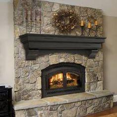 Pearl Mantel Celeste arched pine fireplace mantel or TV shelf. Pick size in dune Chimney Decor, Fireplace Shelves, Fireplace Design, Farmhouse Fireplace Decor, Farmhouse Fireplace, Fireplace Makeover, Home Decor, Rustic Farmhouse