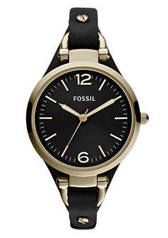 Armbanduhr, Fossil, »Georgia, ES3148«. Diese klassische Armbanduhr präsentiert sich als zeitloses Modell für die Frau von heute. Die Lieferung erfolgt in einer originellen Dose - auch schön als Geschenkverpackung.Quartzwerk, Zifferblatt schwarz, 3 Zeiger davon 2 Leuchtzeiger, Edelstahlgehäuse goldfarben IP-beschichtet, Ø ca. 32 mm, Lederband schwarz, Gesamtlänge ca. 22 cm, verstellbar von ca. 1...
