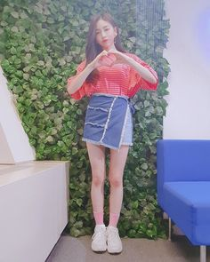 Pink Punch, Woollim Entertainment, Stage Outfits, Girl Group, Denim Skirt, Skirts, Ootd, Kpop, Baby