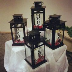 Advent Church Decorations Idea | The #advent candle lanterns I put together for MJAC.