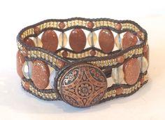 Elegant Goldstone Beaded Leather Cuff Bracelet by SunsetSouthPaw