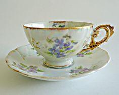 Tea Cup and Saucer Lusterware Teacup Japan Bone China Teacup Floral