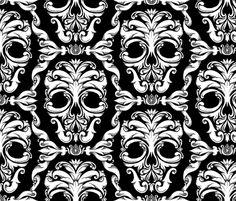 Scrollwork Skulls - black fabric by thecalvarium on Spoonflower - custom fabric