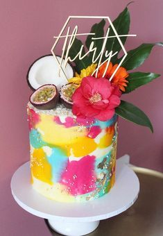 Buttercream tropical birthday cake with fresh coconut passion fruit and flower decoration 26 Birthday Cake, 16th Birthday Cake For Girls, Colorful Birthday Cake, Custom Birthday Cakes, Luau Birthday, Geometric Cake, Watercolor Cake, Hazelnut Cake, Summer Cakes