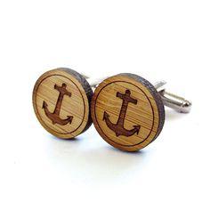 Wooden anchor cufflinks #menswear