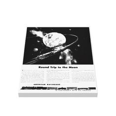 "Round Trip To The Moon Canvas Print from zazzle.com - 18""X24"" - $156.95 -Zazzle's gloss canvas is made from an additive-free cotton-poly blend and features a special ink-receptive coating that protects the printed surface from cracking when stretched. Made with a tight weave ideal for any photography or fine art, our instant-dry gloss canvas produces prints that are fade-resistant for 75 years or more. #Vintage #Trains  #Railroads  #freight  #CanvasPrint"