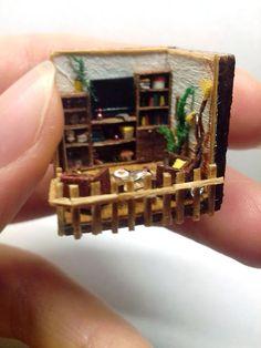 OOAK 144th scale miniature orange roombox