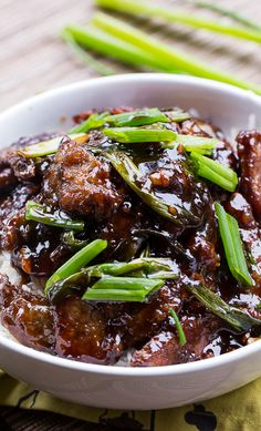 Mongolian Beef (PF Changs copycat). So easy to make and tastes even better than homemade!
