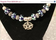 ON SaLe Pentagram Blue Silver Charm Pentacle Glass by EmeraldGypsy, $16.00