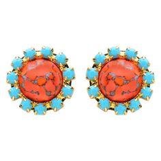 Coral & Swarovski Rhinestone Stud Oval Earring- The Jezebel Earring