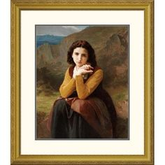 Global Gallery 'Reflective Beauty. Mignon Pensive' by William-Adolphe Bouguereau Framed Painting Print Size: