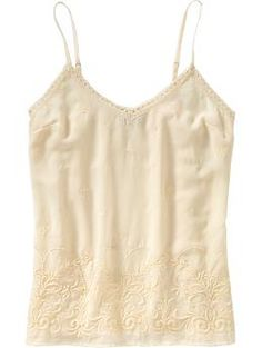 This light, embroidered cami is the perfect shirt to wear in the Summer, when you need to wear something a little dressier than a ribbed tank under a sweater, or linen jacket. It's light and cool and a smidge nicer than a regular tank. It would also look great over some linen shorts, or even jeans. I would pair it  with some long  bead necklaces,or lots of gold bangles. Really nice options from Old Navy this year.  Embroidered Chiffon Cami.  www.oldnavy.gap.com