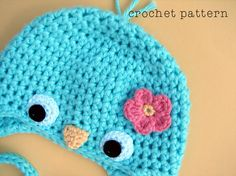 PDF Crochet Pattern, Baby Bluebird Hat w Flower, Earflap Hat or a Beanie, Sizes Newborn to Teen, Make an Adorable Spring Photoprop :D via Etsy