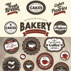 Bakery and Coffee Labels Vector