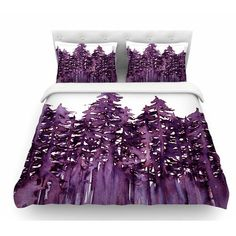 East Urban Home Forest Through the Trees by Ebi Emporium Featherweight Duvet Cover Size: King, Color: Purple/White