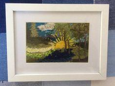 """Woodland Sunrise"" fibre art (Earthed range)   Felt Birches, Z Arts, Knitting Wool, Fibre Art, Acrylic Canvas, Main Colors, Canvas Frame, Woodland, Artworks"