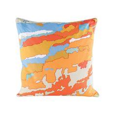Orange Topography Goose Down Throw Pillow