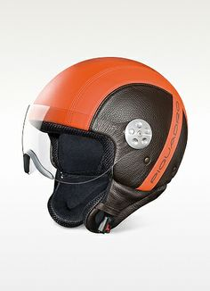 Love the look of these, but the price . . . crazy  Piquadro Open Face Two-tone Leather Helmet w/Visor