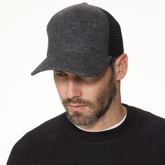 Double Face Knit Trucker Hat in Grey - James Perse