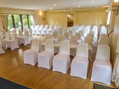 The Danube Suite at Hungarian Hall setup for a ceremony for approximately 80 guests with covered chairs