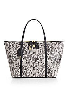 $1,495.00 Dolce & Gabbana - Miss Sicily Lace Print Tote