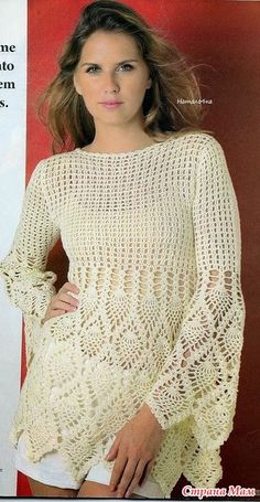 Chic elegant blouse hook. - Knitted fashion + NEMODELNYH FOR LADIES - Home Moms