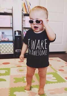 I+Wake+Up+Awesome!    For+the+kid+who+is+so+awesome,+they+wake+up+that+way!    Our+Vintage+Inspired+Tri-Blend+Tees+are+super+soft+and+flexible!+The+most+comfortable+tee+ever!+(We+think)    Our+Tri-Blend+tees+are+50%+Polyester+/+25%+Cotton+/+25%+Rayon    Polyester+retains+shape+and+elasticity;+Cot...
