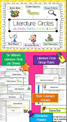 Literature circles made fun  easy!  Job sheets, group rubric, book activities and more  included!  For use in grades 2-6.