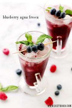 Blueberry Agua Fresca - Blueberry Agua Fresca: Delicious, healthy and sweet fruit water made with blueberries, lemon juice, and honey.