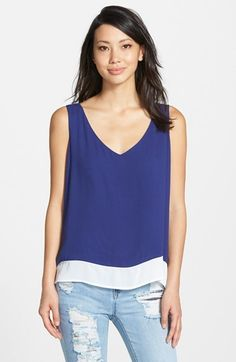 Bobeau Colorblock High/Low Tank