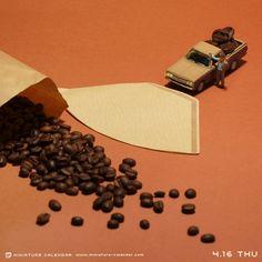 Tatsuya Tanaka www.miniature-calendar.com. Coffee bean spill.