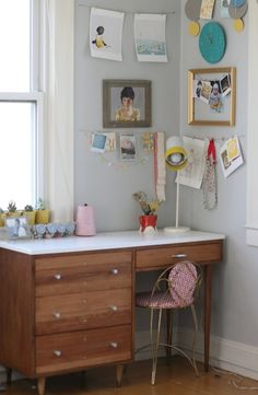 seesaw.: sunroom workspace. Paint color: Benjamin Moore Stonington Gray